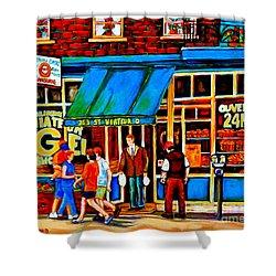 Paintings Of Montreal Memories Bagel And Bread Shop St. Viateur Boulangerie Depanneur City Scenes Shower Curtain by Carole Spandau