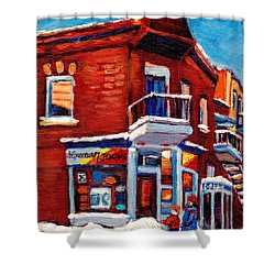 Paintings Of Verdun Depanneur 7 Jours Montreal Winter Street Scenes By Carole Spandau Shower Curtain by Carole Spandau