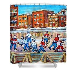 Paintings  Verdun Rink Hockey Montreal Memories Canadiens And Maple Leaf Hockey Game Carole Spandau Shower Curtain by Carole Spandau