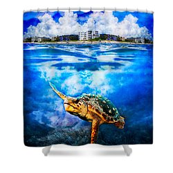 Palm Beach Under And Over Shower Curtain by Debra and Dave Vanderlaan