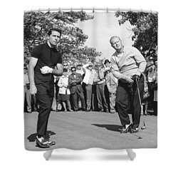 Palmer, Player And Nicklaus Shower Curtain by Underwood Archives