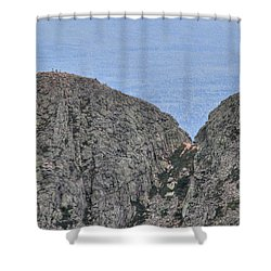 Pamola And Chimney Peaks Shower Curtain by Lori Deiter