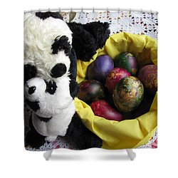 Pandas Celebrating Easter Shower Curtain by Ausra Huntington nee Paulauskaite