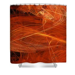Panel 1 Of 5 Dancing Flames 2 H Pentaptych - Abstract - Fractal Art Shower Curtain by Andee Design