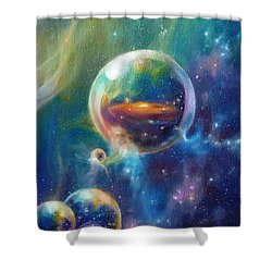 Pangaea Cropped Shower Curtain by Kd Neeley