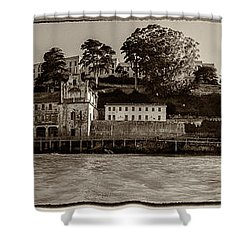 Panorama Alcatraz Torn Edges Shower Curtain by Scott Campbell