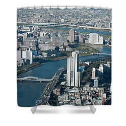 Panorama Of Tokyo Shower Curtain by Jill Mitchell