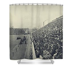 Panoramic Photo Of Harvard  Dartmouth Football Game Shower Curtain by Edward Fielding