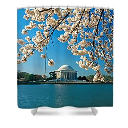 Panoramic View Of Jefferson Memorial Shower Curtain by Panoramic Images