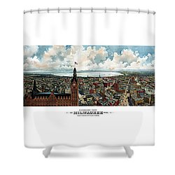 Panoramic View Of Milwaukee Wisconsin Shower Curtain by War Is Hell Store