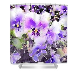 Pansies Watercolor Shower Curtain by John Edwards