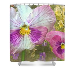 Pansy Duo Shower Curtain by Sandi OReilly