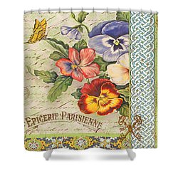 Pansy Garden-b Shower Curtain by Jean Plout