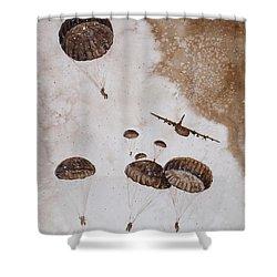 Paratroopers Shower Curtain by Zaira Dzhaubaeva