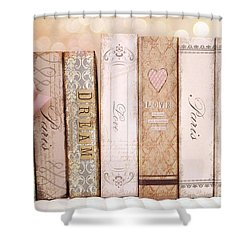 Paris Dreamy Shabby Chic Romantic Pink Cottage Books Love Dreams Paris Collection Pastel Books Shower Curtain by Kathy Fornal