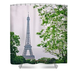 Paris Eiffel Surrounded By Trees Shower Curtain by Georgia Fowler