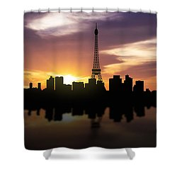 Paris France Sunset Skyline  Shower Curtain by Aged Pixel