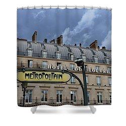 Paris Metropolitain Sign At The Paris Hotel Du Louvre Metropolitain Sign Art Noueveau Art Deco Shower Curtain by Kathy Fornal