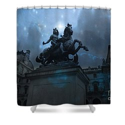 Paris Louvre Museum Blue Starry Night - King Louis Xiv Monument At Louvre Museum Shower Curtain by Kathy Fornal