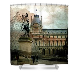 Paris Louvre Museum Pyramid Architecture - Eiffel Tower Photo Montage Of Paris Landmarks Shower Curtain by Kathy Fornal