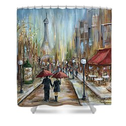 Paris Lovers Ill Shower Curtain by Marilyn Dunlap
