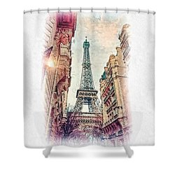Paris Mon Amour Shower Curtain by Mo T