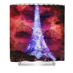 Paris Night Shower Curtain by Mo T