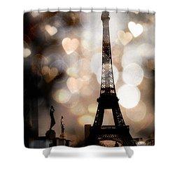 Paris Surreal Fantasy Sepia Black Eiffel Tower Bokeh Hearts And Circles - Paris Sepia Fantasy Nights Shower Curtain by Kathy Fornal