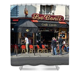 Parisian Cafe Le Conti Shower Curtain by RicardMN Photography