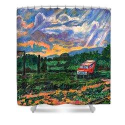 Park In Floyd Shower Curtain by Kendall Kessler