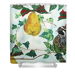 Partridge And  Pears  Shower Curtain by Reina Resto