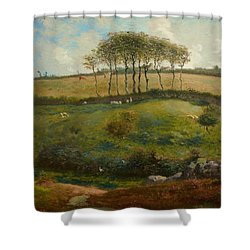 Pasture Near Cherbourg Shower Curtain by Jean-Francois Millet