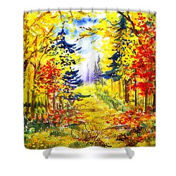 Path To The Fall Shower Curtain by Irina Sztukowski