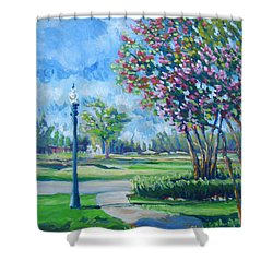 Path With Flowering Trees Shower Curtain by Vanessa Hadady BFA MA