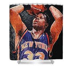 Patrick Ewing Shower Curtain by Taylan Soyturk