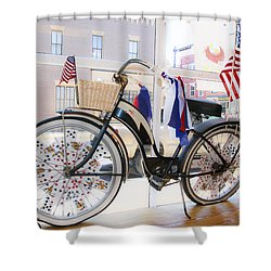 Patriotic Bicycle Shower Curtain by Cindy Archbell
