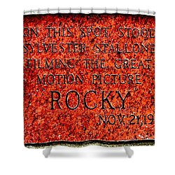 Pats Steaks - Rocky Plaque Shower Curtain by Benjamin Yeager