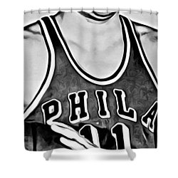 Paul Arizin Shower Curtain by Florian Rodarte