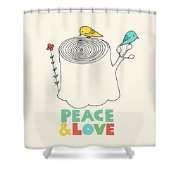 Peace And Love Shower Curtain by Eric Fan