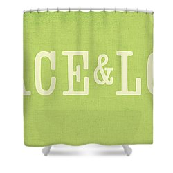 Peace And Love Shower Curtain by Linda Woods