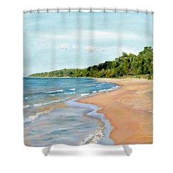 Peaceful Beach At Pier Cove Shower Curtain by Michelle Calkins