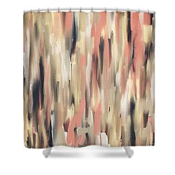Peach And Blue Shower Curtain by Lourry Legarde