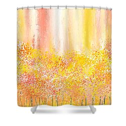 Peach And Yellow Garden- Peach And Yellow Art Shower Curtain by Lourry Legarde