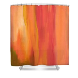 Peach Floral Shower Curtain by Lourry Legarde