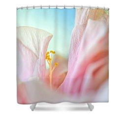 Peach Hibiscus. Macro Shower Curtain by Jenny Rainbow