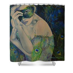 Peacock Enigma Shower Curtain by Dorina  Costras