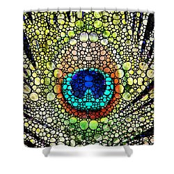 Peacock Feather - Stone Rock'd Art By Sharon Cummings Shower Curtain by Sharon Cummings