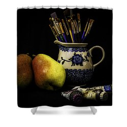 Pears And Paints Still Life Shower Curtain by Jon Woodhams