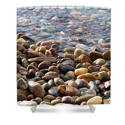 Pebbles On The Shore Shower Curtain by Leone Lund