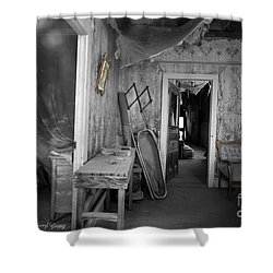 Peeking In The Old Mortuary Shower Curtain by Cheryl Young